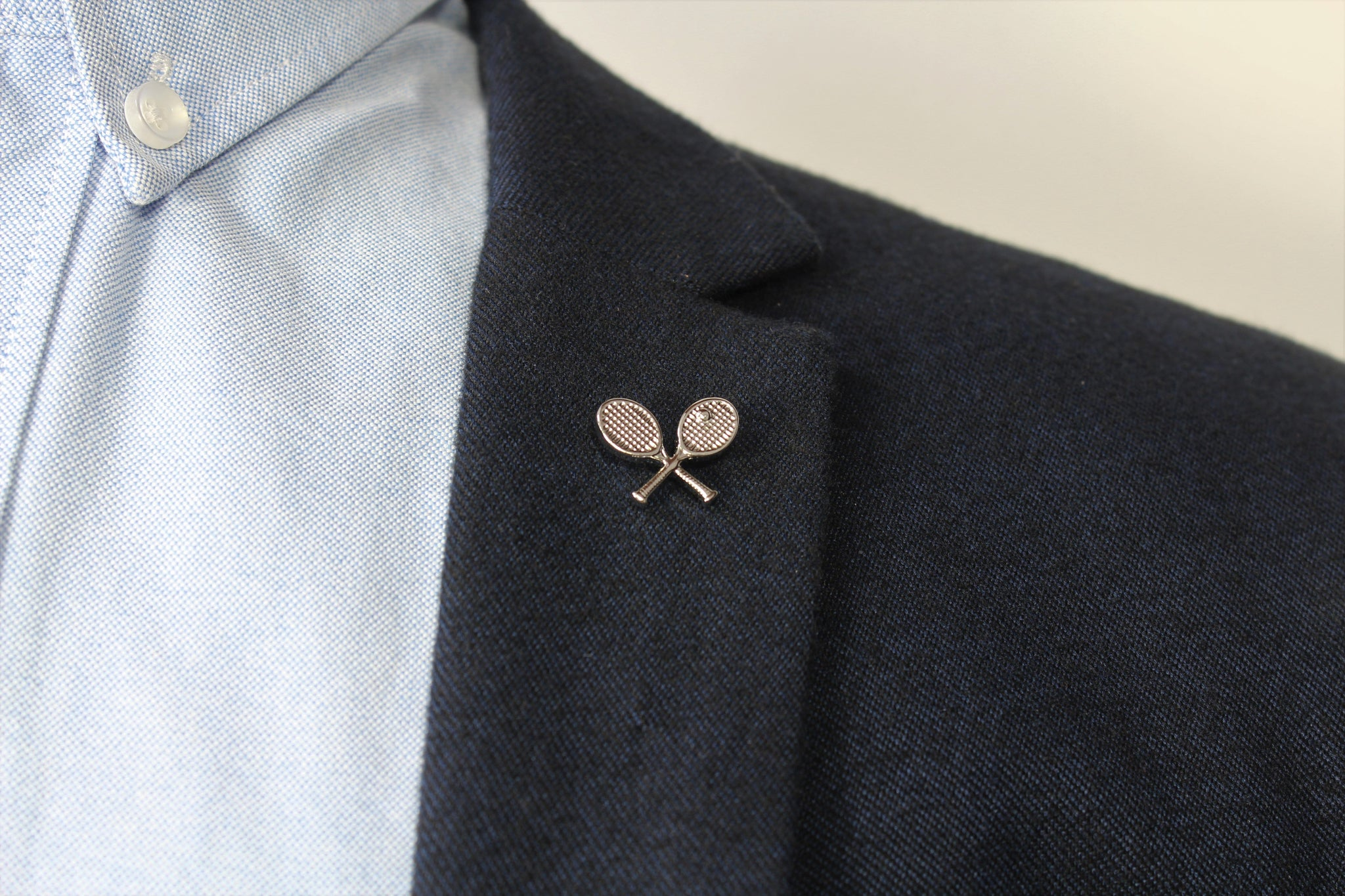 Tennis Racquets Lapel Pin on blazer - Stolen Riches