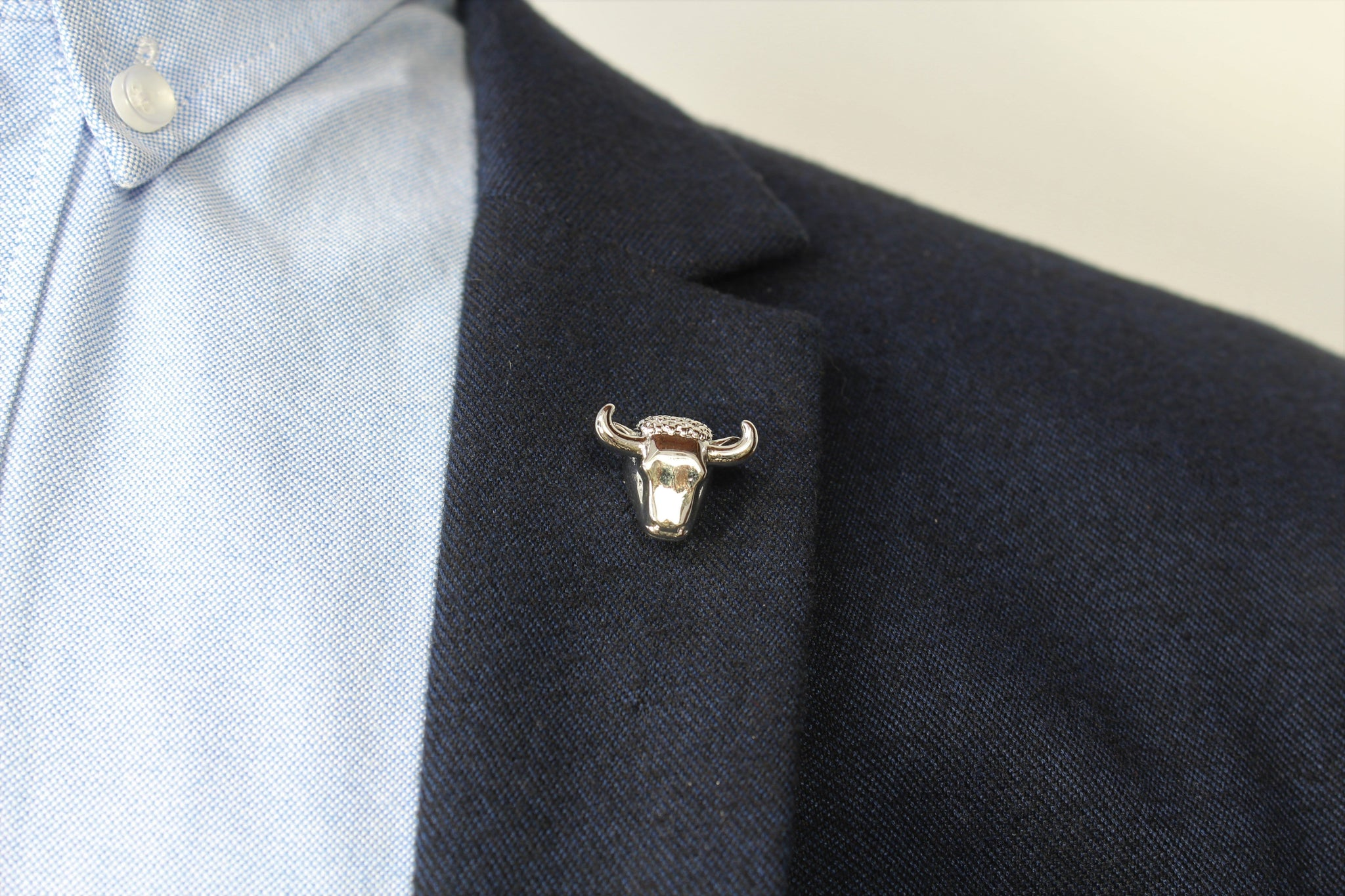 Bull Head Lapel Pin on blazer - Stolen Riches