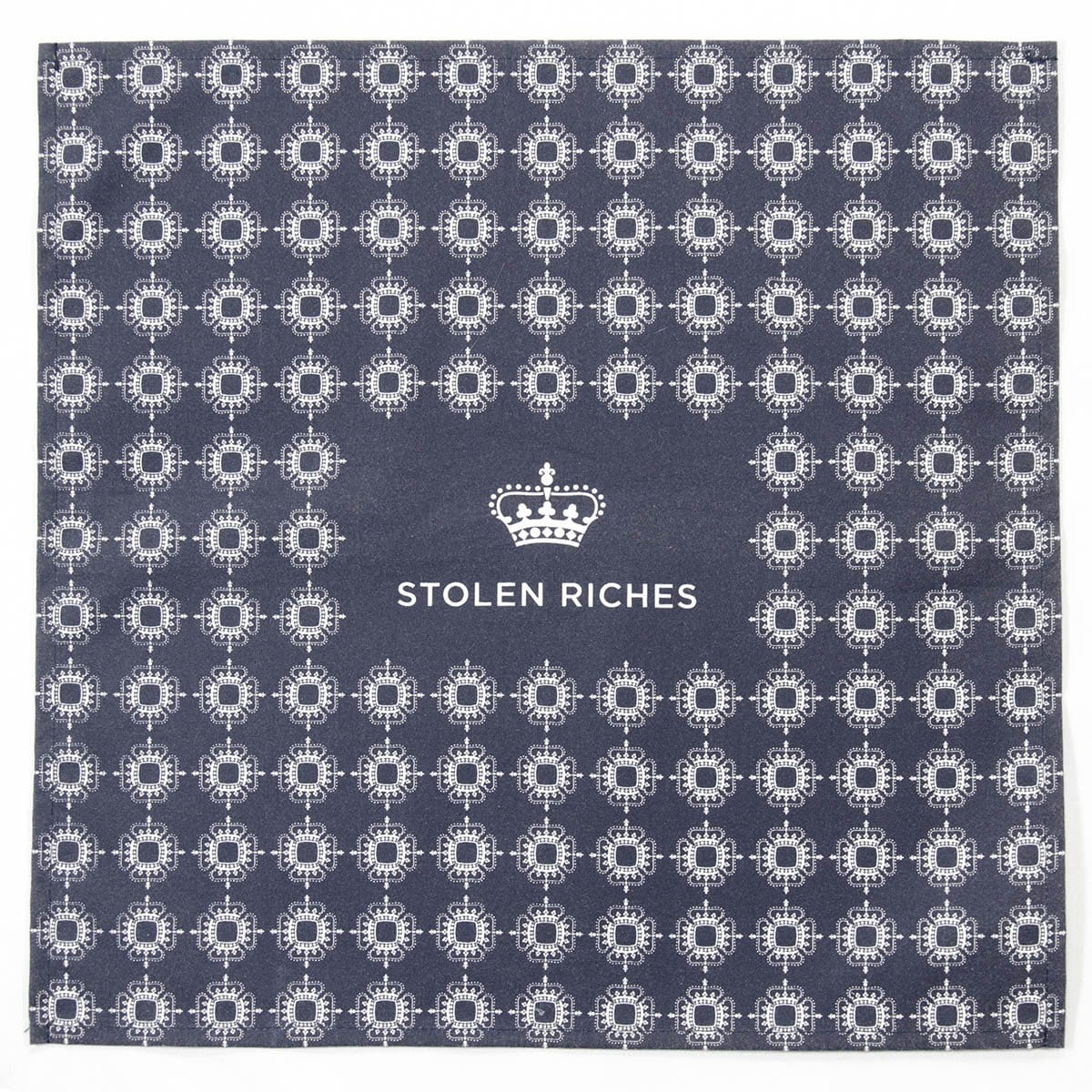 "Mission Blue - Crown Pattern Pocket Square (13""x13"") - Stolen Riches"