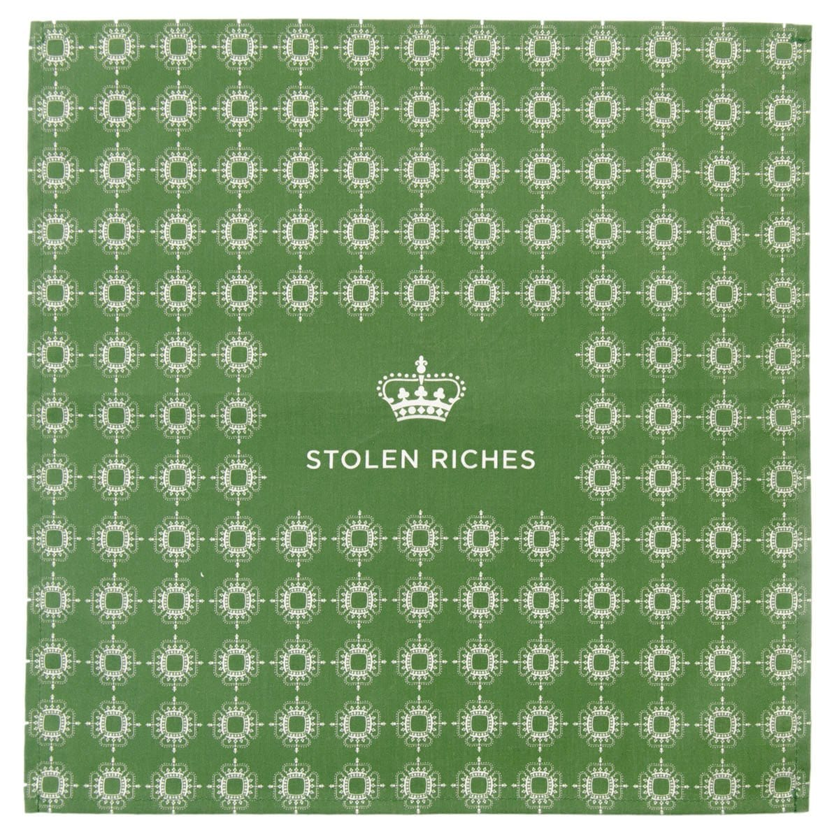 "Moville Green - Crown Pattern Pocket Square (13""x13"") - Stolen Riches"