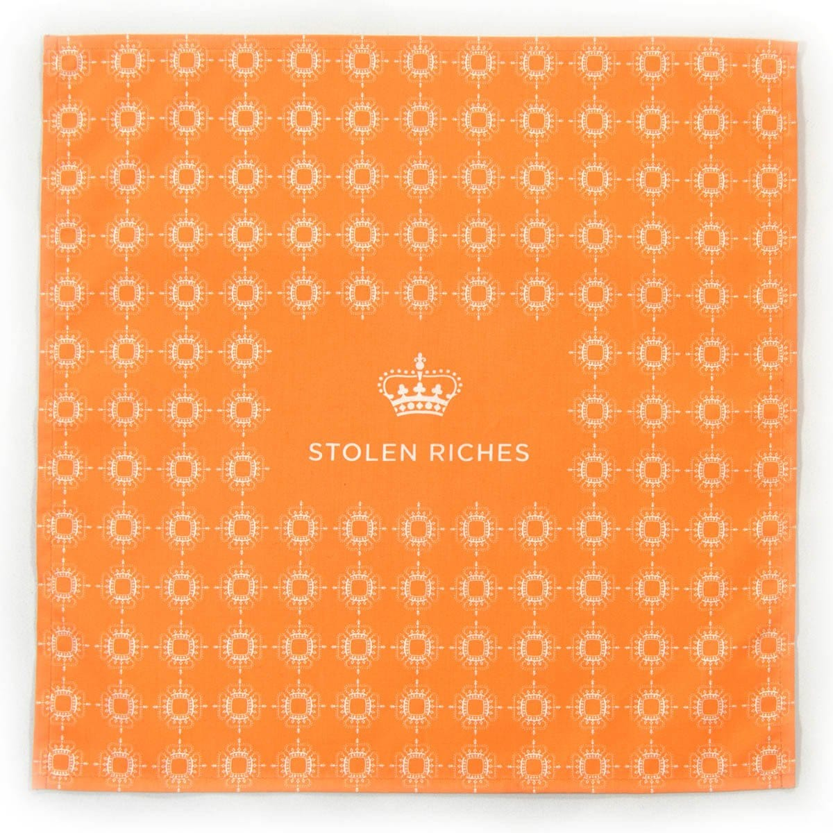 "Tiqui Orange - Crown Pattern Pocket Square (13""x13"") - Stolen Riches"