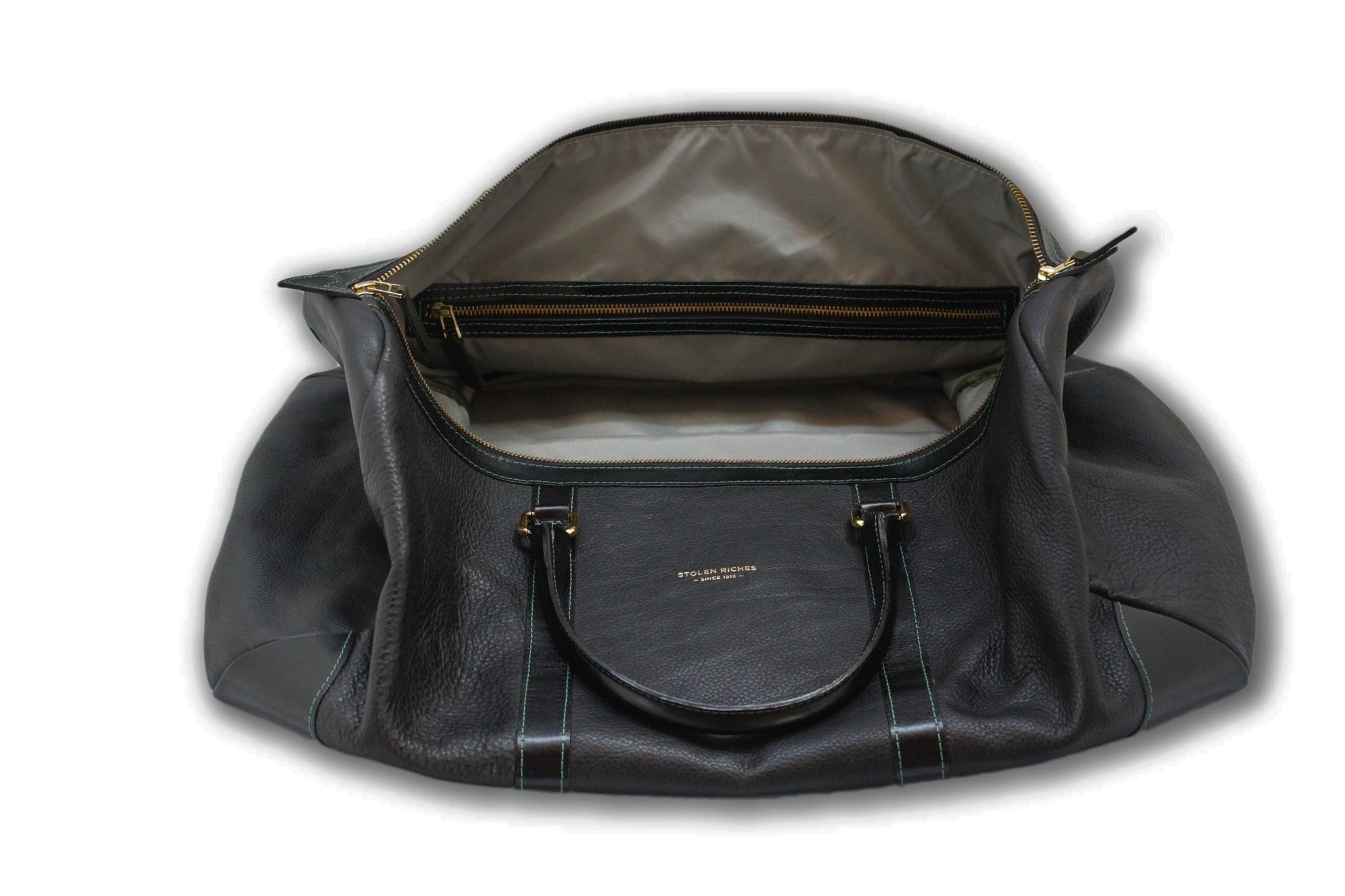 Weekend bag, black leather