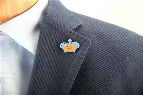 Crown Lapel Pin - Dickie Blue with Tiqui Orange - Stolen Riches