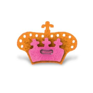 Crown Lapel Pin - Happiest Orange with Poona Pink - Stolen Riches