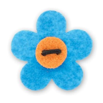 Flower Lapel Pin - Dickie Blue with Tiqui Orange - Stolen Riches