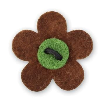Flower Lapel Pin - Gipper Brown with Moville Green - Stolen Riches