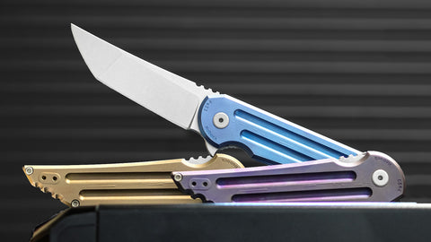 Kwaiback Ti Purple Ano, CTS-XHP Stonewash, Knifecenter Exclusive Bedform Finish