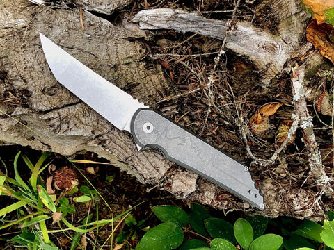 Kwaiback MK5.1 Folder, Titanium with Heartbeat Design, CPM-20CV Blade Steel, Stonewash Finish