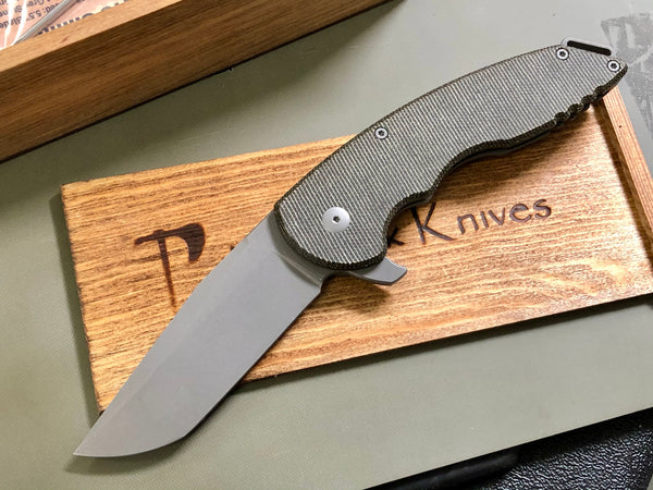A15 Slimline, Titanium and Dark Green Micarta, CPM-20CV Blade Steel, Grey Stonewash Finish