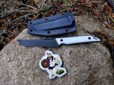 "Goliath ""Tuxedo"" Pocket Fixed Blade, CPM-20CV Steel, White G10 Handle w/ DLC Black Stonewash Finish"