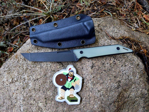"Goliath ""Tuxedo"" Pocket Fixed Blade, CPM-20CV Steel, Jade G10 Handle w/ DLC Black Stonewash Finish"