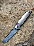 Custom Tradecraft OTS Automatic, Fading Knurl Machining, Black Acid-Wash Fallout Blade, New Pocket Clip