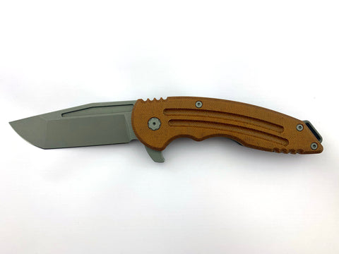 Husky, Titanium and Natural/Brown Micarta, Nitro-V Blade Steel, Grey Stonewash Finish