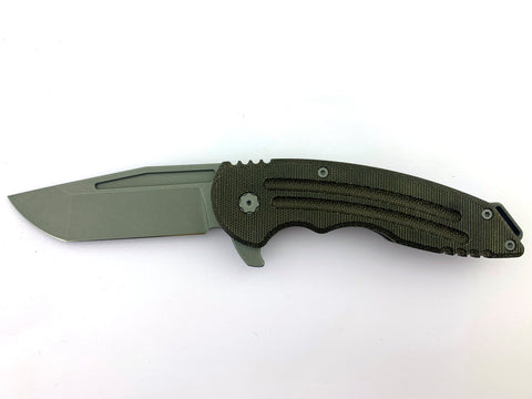 Husky, Titanium and OD Green Micarta, Nitro-V Blade Steel, Grey Stonewash Finish