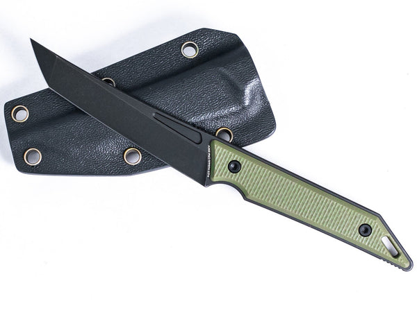 Goliath Pocket Fixed Blade, CPM-20CV Steel, OD Green G10 Handle w/ DLC Black Stonewash Finish
