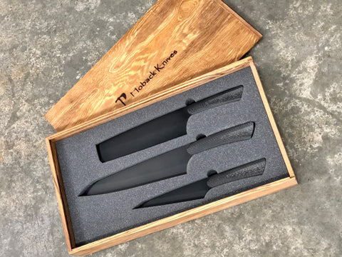 Tactical Kitchen Knives, Set of 3, Carbon Fiber Handles, PVD Black Blades