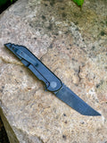 Kwaiback MK5 Folder, Titanium with Smooth Sides, Nitro-V Blade Steel, DLC Black Fallout Finish