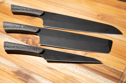 From top to bottom: Santoku, Usuba, Honesuki
