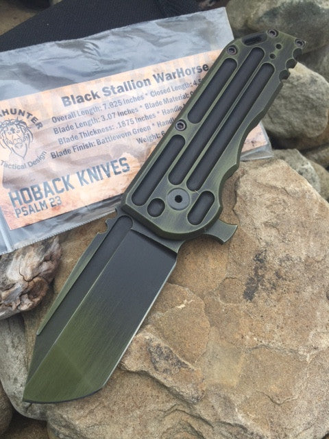 Hoback/Alphahunter Collab Black Stallion WarHorse Folder, Battleworn Green