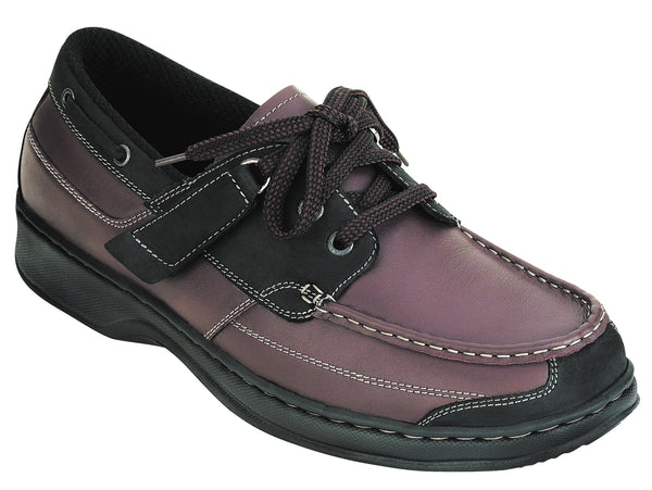 Orthofeet 422 Baton Rouge Men's Boat Shoe Brown Black | Diabetic Shoes