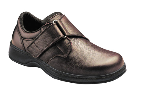 Orthofeet 520 Broadway Mens Comfort Shoe Velcro Brown | Diabetic Shoes