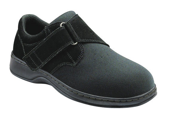Orthofeet 525 Bismark Men's Comfort Shoe Velcro Black | Diabetic Shoes