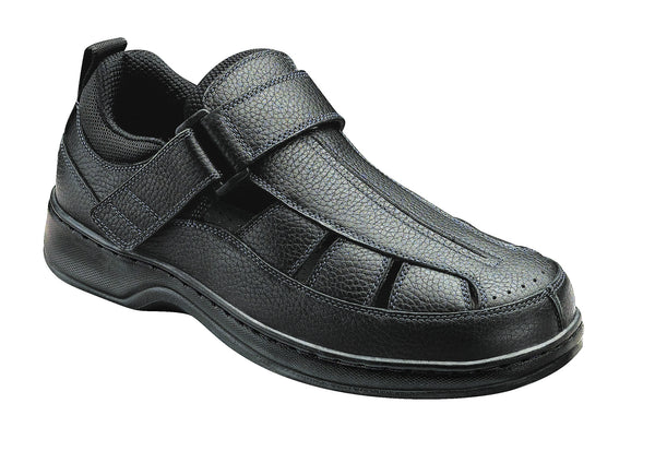 Orthofeet 571 Melbourne Men's Fisherman Shoe Black | Diabetic Shoes