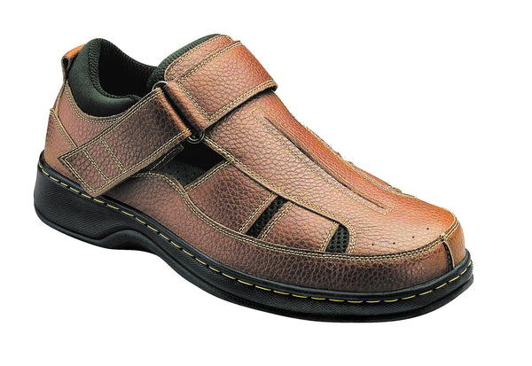 Orthofeet 572 Melbourne Men's Fisherman Shoe Brown | Diabetic Shoes