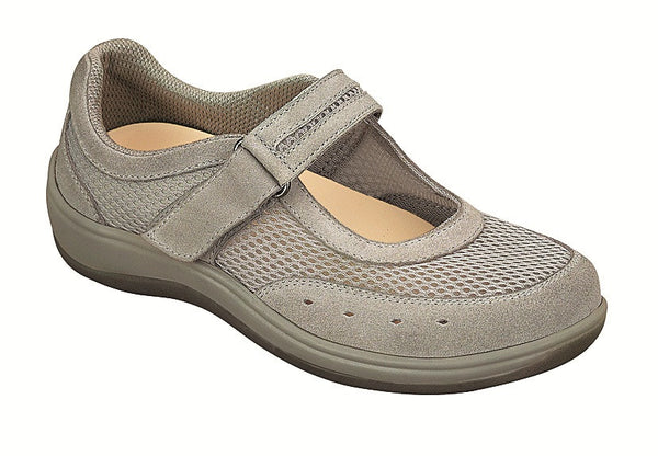 Orthofeet 853 Chattanooga Women's Gray Mesh Mary Jane Shoe | Diabetic Shoes