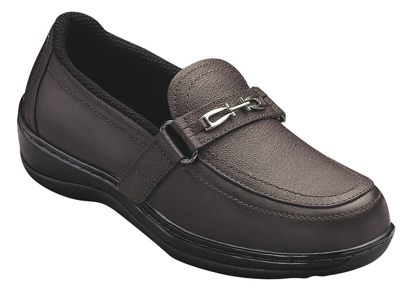 Orthofeet 818 Chelsea Women's Brown Comfort Shoe (Slip-On) | Diabetic Shoes