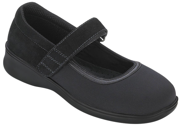 Orthofeet 827 Springfield Women's Black Mary Jane Shoe | Diabetic Shoes