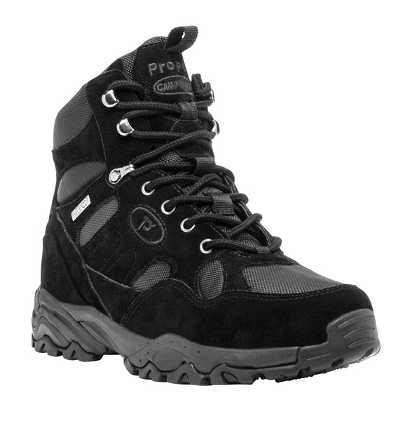 Black Suede Propet M3589 Camp Walker Hi Men's Shoe- Diabetic Shoes