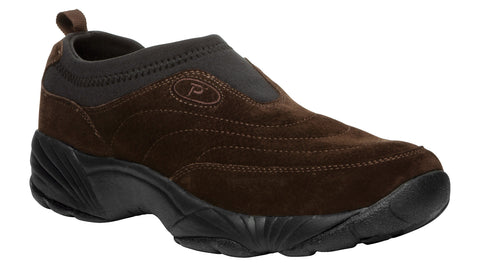 Brownie/Blk Propet M3850 Wash & Wear Slip-On II Suede Men's Shoe- Diabetic Shoes