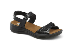 Dr. Comfort Peanut Black Women's Sandal (Velcro)| Diabetic Shoes | Orthopedic Shoe