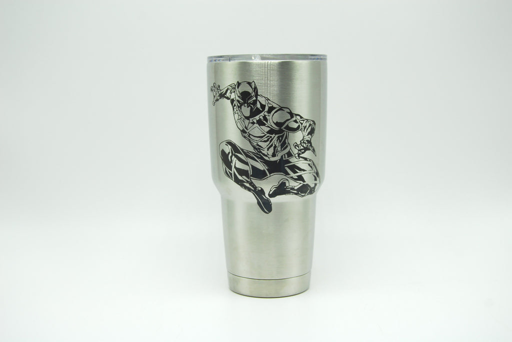 Black Panther Custom Etched Tumbler - Eva's Unity Sand Shoppe