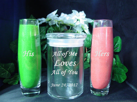 3pc Unity Sand Set ~ FREE SAND INCLUDED ~ Laser Etched Personalized Unity Set