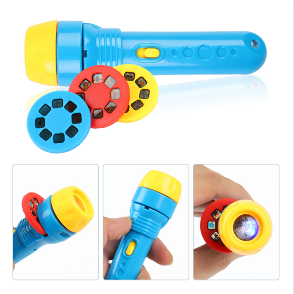 Flashlight Projector Toy Torch Projection Film Toy Sleeping Story Learning and Education Drawing Light