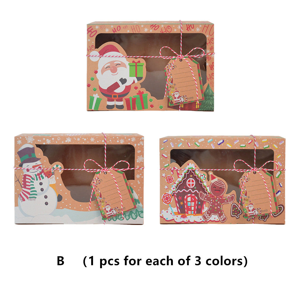 Christmas Cookie Box Kraft Paper Candy Gift Boxes Food Packaging Bags for Party Kids New Year Gift - 3 PCS