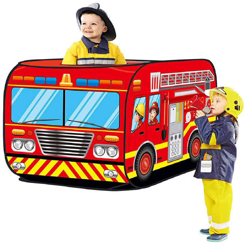 Children DIY Toys Tents Foldable Fire Truck Police Car School Bus Ice Cream Outdoor Indoor Kids Gift - Fire Engine