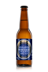 Small Acres Heritage Blend Cider Bottle with a rich blue and gold label.