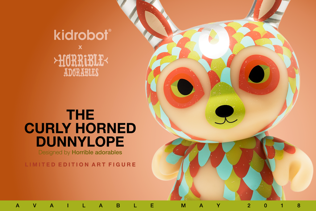 "The Curly Horned Dunnylope 5"" Orange Dunny by Horrible Adorables"