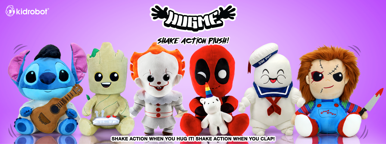 Kidrobot HugMe Plush Toys - Shake action when you hug it. Shake action when you clap.
