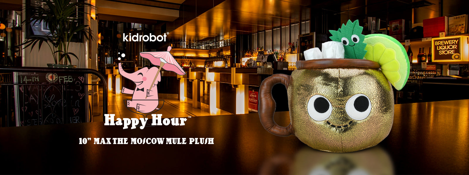 Happy Hour Cocktail Plush by Kidrobot - Adult Themed Plush Pillows featuring Moscow Mules and Pina Coladas
