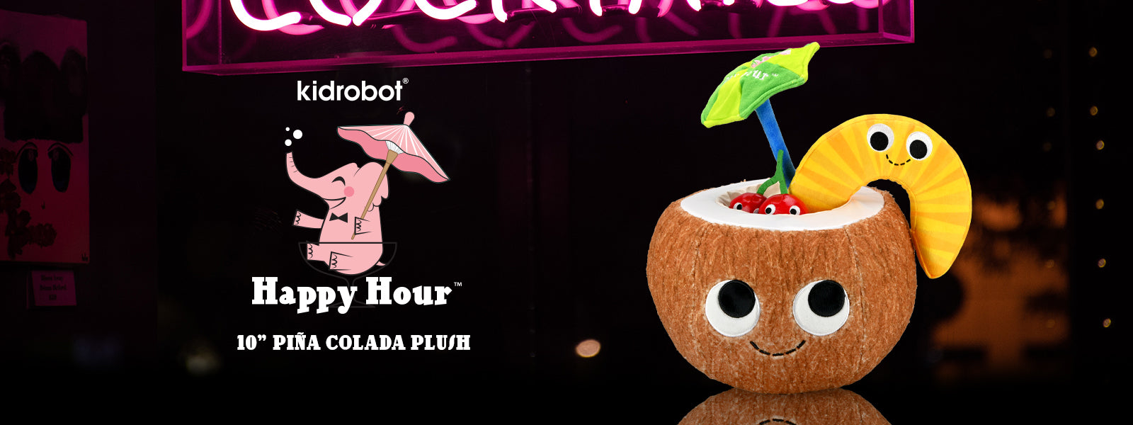 Kidrobot Happy Hour Adult Cocktail Plush - Pina Colada Plush