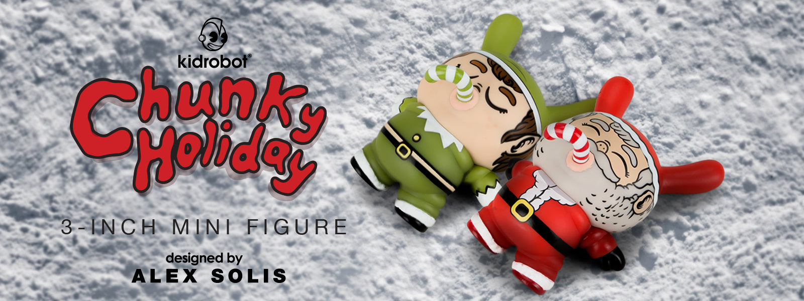 """Kidrobot 2019 Chunky Holiday Exclusive Edition 3/"""" Vinyl Elf Dunny by Alex Solis"""