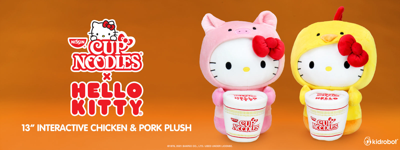 Cup Noodles x Hello Kitty Plush Toys by Kidrobot - Pork and Chicken Interactive Plush
