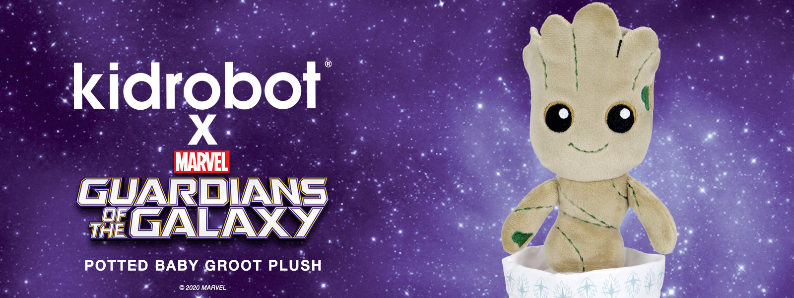 Kidrobot x Marvel Guardians of the Galaxy Potted Baby Groot Plush Toy