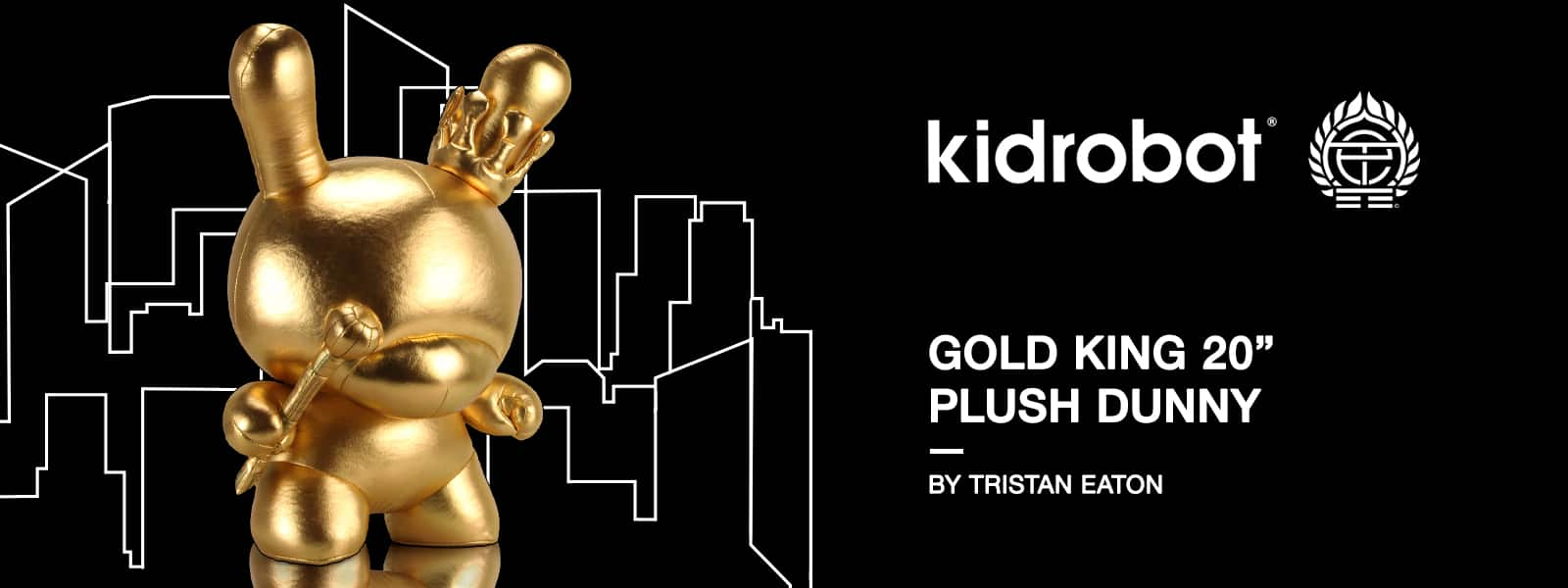 "Kidrobot Gold King 20"" Plush Dunny by Tristan Eaton"