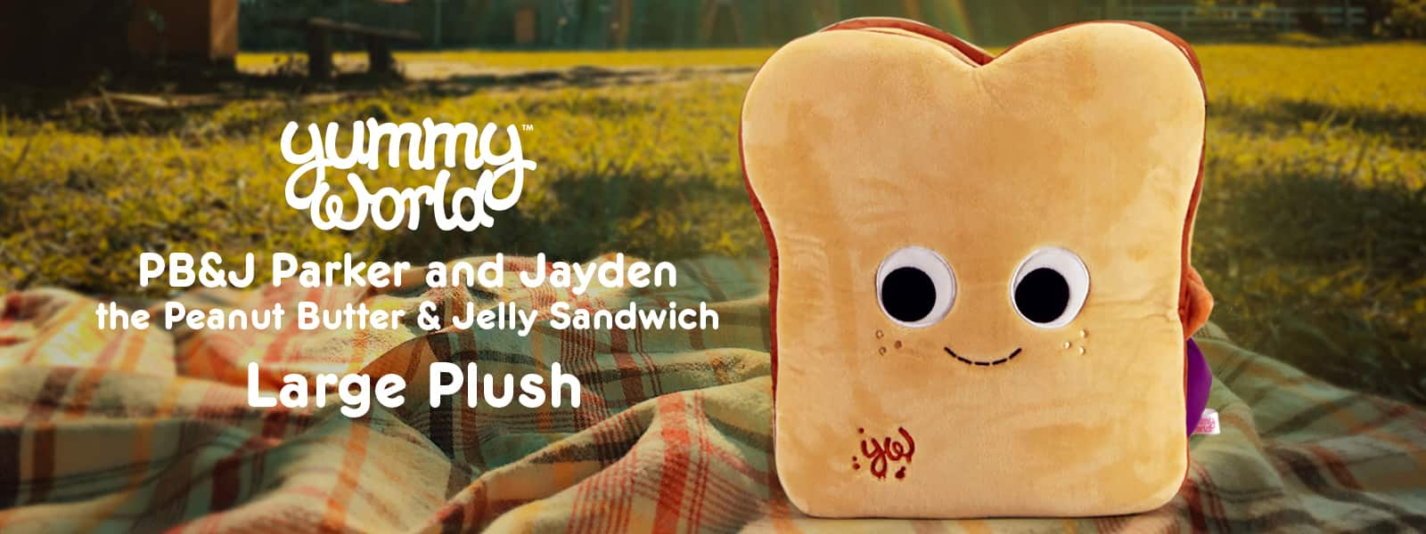 NEW Yummy World Peanut Butter and Jelly PB&J Sandwich Plush Toy by Kidrobot