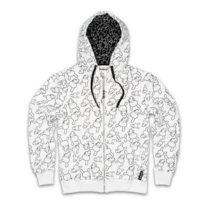 100% Polyester - Dunny Print Zip Up Hoodie
